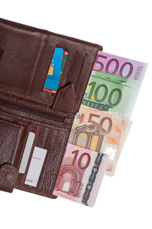 Open wallet with euro banknotes isolated on white  photo