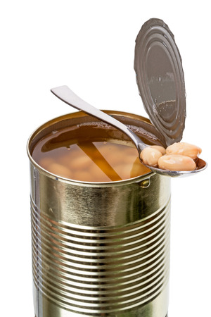 Canned white beans in an iron pot  Series of canned foods photo