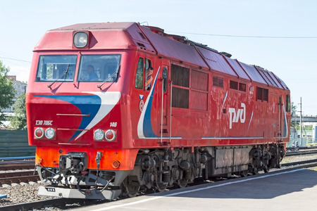 kw: Tambov, Russia, June 23, 2012  TEP70 main line single unit diesel passenger locomotive, rated at 2,964kW  3,975hp , with AC DC transmission and individual axle traction control, is a railway engine designed to haul passenger trains on the Russian gaug Editorial