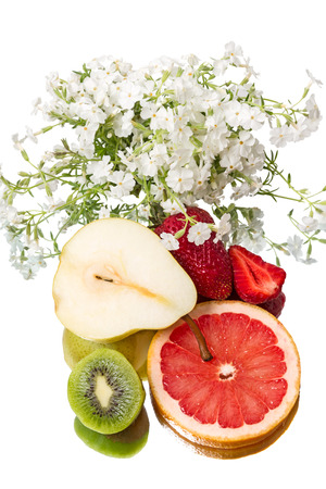 Homemade still life  with fruit and white flowers photo