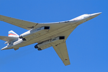 variable: Tambov, Russia - May 31, 2014   Traditional air show in Tambov  Tu-160  NATO reporting name Blackjack  - supersonic strategic bomber with variable sweep wing   Sunny summer day