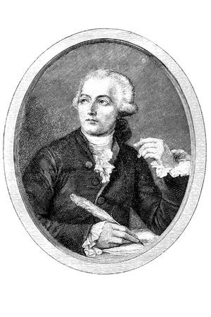 gravure: Gravure di un chimico francese Antoine Laurent Lavoisier (1743 - 1794)