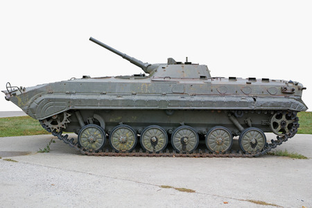 An infantry fighting vehicle (IFV), also known as a mechanized infantry combat vehicle (MICV), is a type of armoured fighting vehicle used to carry infantry into battle and provide direct fire support. Quality of medium format Фото со стока - 33081663