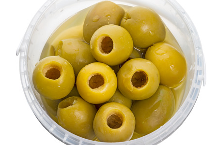 pitted: Large olives pitted. Series of canned foods Stock Photo