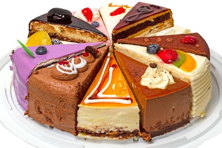 케이크 12 다른 조각입니다. 흰색 배경에 고립. 스톡 콘텐츠