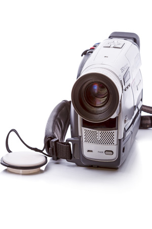 Vintage Video Camera format HVS isolated on a white background Stock fotó