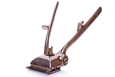clipper: Vintage (1957) hair clipper isolated on a white background