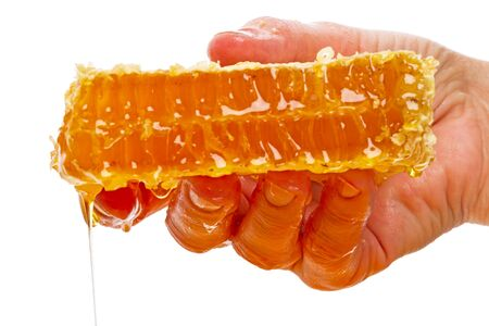 honey comb: Hand with a piece of honey comb isolated on white background