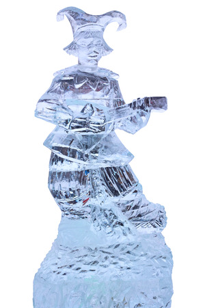 Tambov, Russia - February 15, 2015: Maslenitsa (pancake week, shrovetide) - carnival of farewell winter and meeting spring in Tambov.  Ice sculpture buffoon isolated on a white background.  The quality of medium format Stock Photo