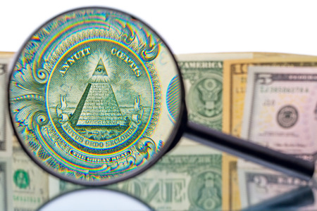 increased: The Great Seal of the United States from the reverse of a one dollar bill increased magnifier
