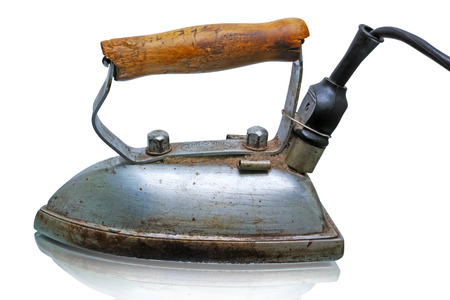 electric iron: Retro electric iron (made in 1953)  isolated on white background