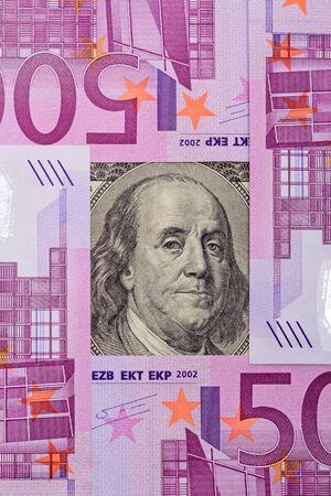 benjamin: Portrait of Benjamin Franklin and frame of 500 euros