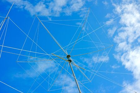 short wave: Wire rotating directional antenna on a background of blue sky. The quality of medium format