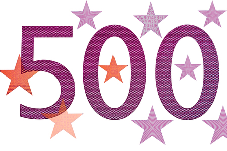 The number of 500 and a star with five hundred euro banknotes  isolated on white background