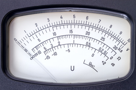 ohm: Scale  analog electronic voltmeter close-up