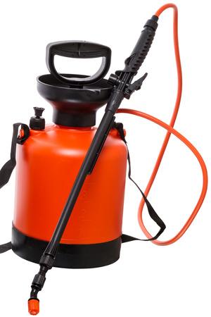 crop sprayer: Manual garden sprayer pesticides isolated on white background Stock Photo