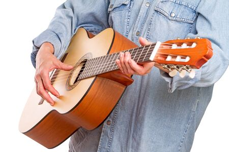 bard: Hand woman and simple six-stringed guitar