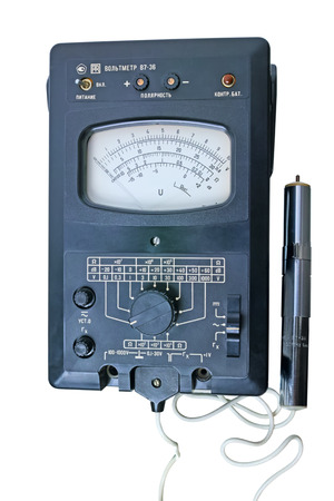 decibels: Tambov, Russia - May 10, 2015:  Russian universal electronic instrument - voltmeter V7-36 with voltage divider.  Isolated on white background. The quality of medium format Editorial