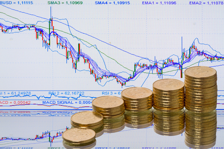 stock ticker: Coins on a blurred background stock ticker
