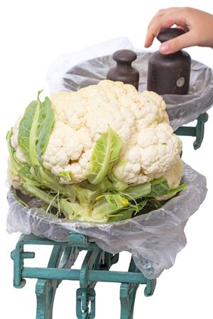 weigher: The old mechanical scales with a large cauliflower isolated on white background