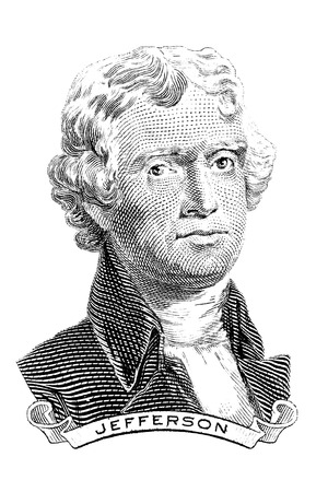 Gravure of Thomas Jefferson in front of the two-dollar banknote. The third President of the United States (1801–1809) Stock Photo