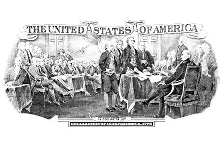alexander hamilton: In bianco e nero incisione della Dichiarazione di indipendenza dalla parte posteriore di due dollari di legge