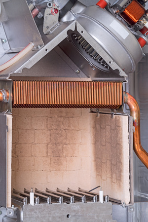 The Combustion Chamber, Heat Exchanger And Exhaust Fan Gas Boiler ...