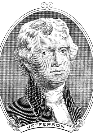 obverse: Gravure of Thomas Jefferson in front of the two-dollar banknote. The third President of the United States (1801–1809) Stock Photo