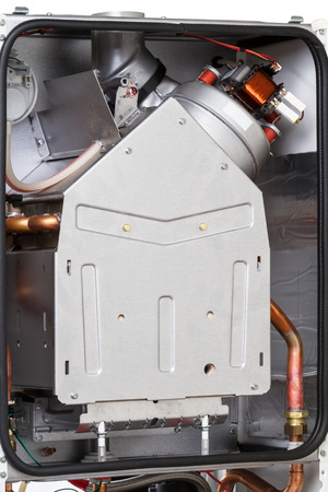 chamber: Gas boiler with a closed combustion chamber close-up Stock Photo