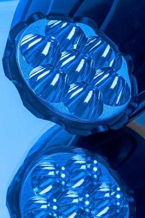 leds: Flashlight with seven LEDs in blue light