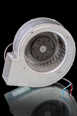 supercharger: Centrifugal fan Snail for cooling server. Isolated on black background