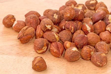 cobnut: A pile of peeled kernels nuts hazelnuts