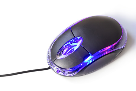 input device: Computer mouse with LED light isolated on white background