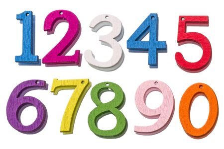2 0: Wooden colorful numbers from 0 to 9 isolated on white background