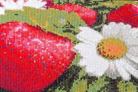 Strawberries and Daisy Mosaic Diamond closeup