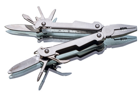 Open multi-tool isolated on a white background