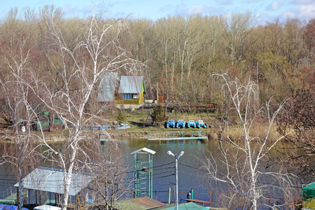 wetland conservation: Rescue Station on the banks of the river in early spring