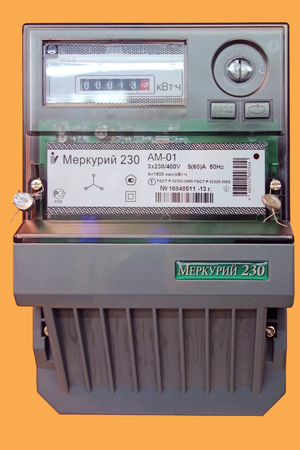 electric meter: Tambov, Russia - March 18, 2016: New Digital three-phase electric meter Mercury 230 isolated on an orange background. The meter is designed for metering of active and reactive energy and power in three-phase 3-wire and 4-x AC networks 50Hz
