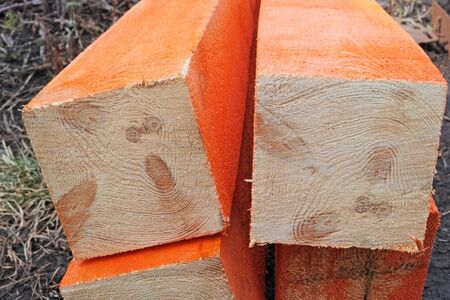 timbering: Wooden timber protected from moisture and rotting
