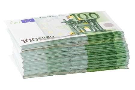 Large stack of banknotes 100 euros. Isolated on white background