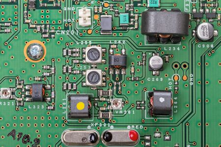 circuitboard: Electronic board with modern components of top view. Technological background