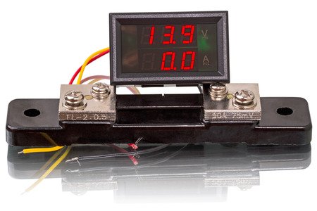 ammeter: Digital voltmeter and ammeter shunt with isolated on white background