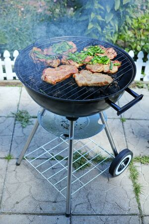 Cooking pieces of meat grilled on hot charcoal. The quality of medium format Stock Photo
