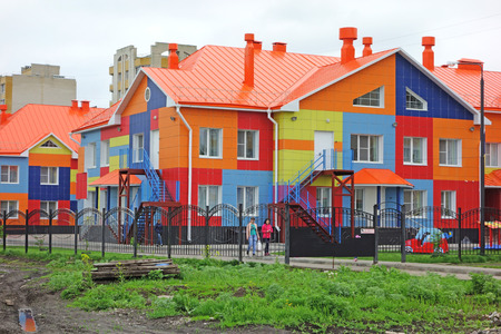 porch scene: Tambov, Russia - May 17, 2016: Bright coloring of new kindergarten building in the western part of the city of Tambov