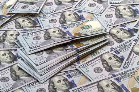 bankroll: Background of a large number of new banknotes hundred dollars. Type acute angle Stock Photo