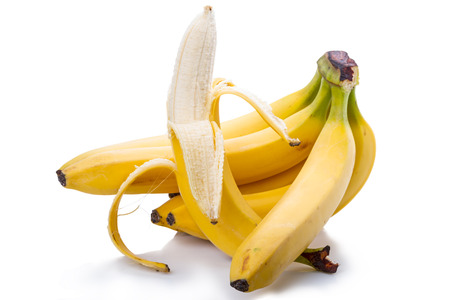 fascicule: Bunch of ripe bananas on white isolated on white background Stock Photo