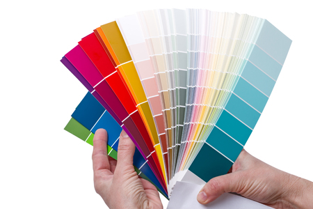 Hands with Examples of colors for color selection in the construction