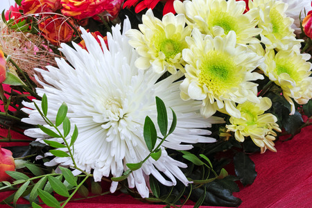 Chrysanthemum in a bouquet of flowers closeup. Quality of medium format
