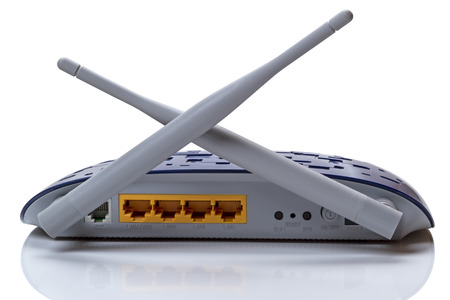Wireless Routers with two antennas. Isolated over white background Stock Photo