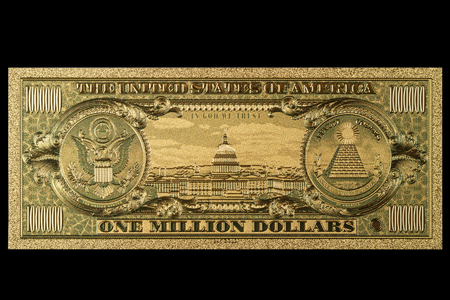 Souvenir American Gold Banknote $ 1 Million Dollars isolated on a black background Stok Fotoğraf - 92203280